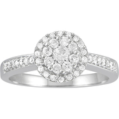 10K White Gold 1/2 ct. TDW Diamond Cluster Ring