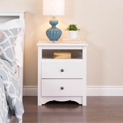 Prepac Fremont Tall 2 Drawer Nightstand with Open Shelf