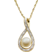 Imperial 14K Gold Plated Pearl and Diamond Tear Drop Pendant