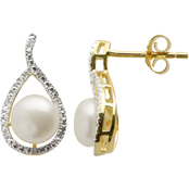 Imperial 14K Gold Plated Pearl and Diamond Tear Drop Earrings