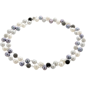 Imperial Sterling Silver Cultured Freshwater Pearl and Crystal Balls Necklace