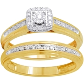 Expressions of Love 10K Yellow Gold 1/5 CTW Diamond Bridal Set, Size 7