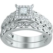 Expressions of Love 10K White Gold 3/8 CTW Diamond Bridal Set, Size 7