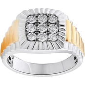 Sterling Silver 1/7 CTW Mens Diamond Ring Size 10.5