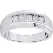 Sterling Silver 1/7 CTW Mens Diamond Ring, Size 10.5