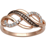 10K Rose Gold 1/5 CTW Champagne and White Diamond Ring
