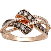 10K Rose Gold 1 CTW Champagne and White Diamond Ring