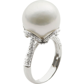 Imperial Sterling Silver Cultured Freshwater Pearl and White Topaz Ring