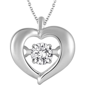Dazzling Diamonds 10K White Gold Diamond Accent Heart Pendant