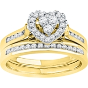 14K Gold 1/2 CTW Heart Shaped Diamond Bridal Set