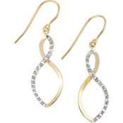Diamond Fascination Sterling Silver Layered with 18KY Dangle Earrings