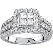 14K White Gold 2 CTW Diamond Engagement Ring, Size 7