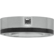 Stainless Steel and Black IP With Diamond Accent Princess Cut Black Diamond