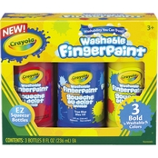 Crayola Washable Fingerpaint Pack, 3 Pk. Assorted Bright Colors, 8 oz. Tubes