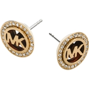 Michael Kors Goldtone MK Stud Earrings with Tortoise and Clear Pave