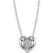Sirena 14k White Gold 1/8 CTW Diamond Heart Pendant