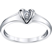 Sirena 14K White Gold 1/10 CTW Diamond Heart Shaped Ring