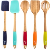 Fiesta by Cambridge Silversmiths Bamboo and Silicone 5 pc. Utensil Set