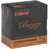 PMC Bronze .44 Mag 180 Grain Jacketed Hollow Point, 25 Rounds