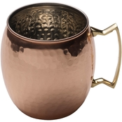 Mikasa Moscow Mule Hammered Copper Barrel Mug with Brass Handle