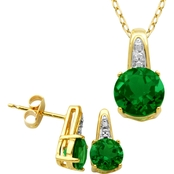 Yellow Gold over Sterling Silver Lab Created Green Quartz and Diamond Accent Set