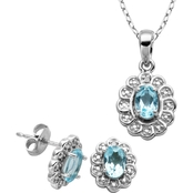 Rhodium over Sterling Silver Sky Blue Topaz Diamond Accent Earring and Pendant Set