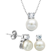 Rhodium over Sterling Silver White Pearl and Lab Created White Sapphire Set