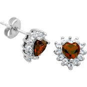 Rhodium over Sterling Silver Heart Shape Garnet and White Topaz Earrings