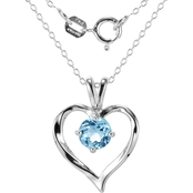 Rhodium over Sterling Silver Genuine Sky Blue Topaz Heart Pendant