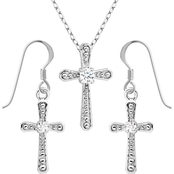 Rhodium over Sterling Silver White Topaz Cross Earring and Pendant Set