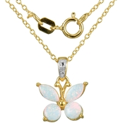 Yellow Gold over Sterling Silver Lab Created White Opal and Diamond Accent Pendant