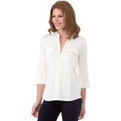 Calvin Klein Collection Zip Front Roll Sleeve Top