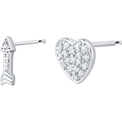 10K White Gold Diamond Accent Heart and Arrow Earrings