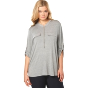 Calvin Klein Plus Size Zip Front Roll Tab Top