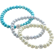 Imperial Multi-Color Cultured Pearl and Crystal Ball 3 pc. Stretch Bracelet Set