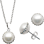 Imperial Sterling Silver Cultured Pearl with Inlaid Crystal Pendant and Earring Set