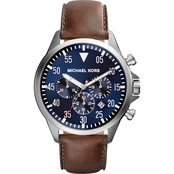 Michael Kors Men's Gage Chronograph with Blue Dial and Brown Leather Strap MK8362