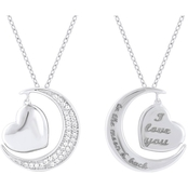 Sterling Silver 1/10 CTW Diamond Moon and Heart Pendant