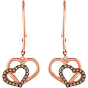 10K Gold 1/4 CTW Champagne and White Diamond Joined Heart Earrings