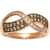 10K Gold 1/2 CTW Champagne Diamond 8 Shape Ring