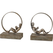 Uttermost Lounging Reader Antiqued Bookends 2 pc. Set