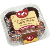 Katz Gluten Free Chocolate Frosted Cup Cakes with Colored Sprinkles 2-Pack