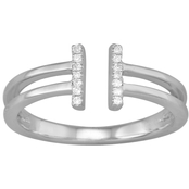 10K White Gold 1/20 CTW Double Bar Ring