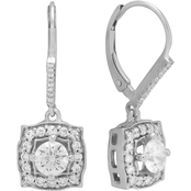 14K White Gold 1 CTW Halo Leverback Earrings
