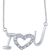 Sterling Silver I Love You Necklace with Diamond Accents