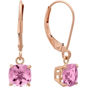 10K Rose Gold 6mm Pink Amethyst Cushion Checkerboard Cut Earrings