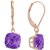 10K White Gold Cushion Checkerboard-Cut Amethyst Leverback Earrings