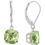 10K White Gold Cushion Checkerboard-Cut Green Amethyst Leverback Earrings