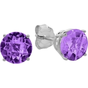 10K White Gold Round Amethyst Stud Earrings
