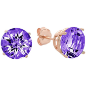 10k Rose Gold Amethyst Round Checkerboard Cut Stud Earrings